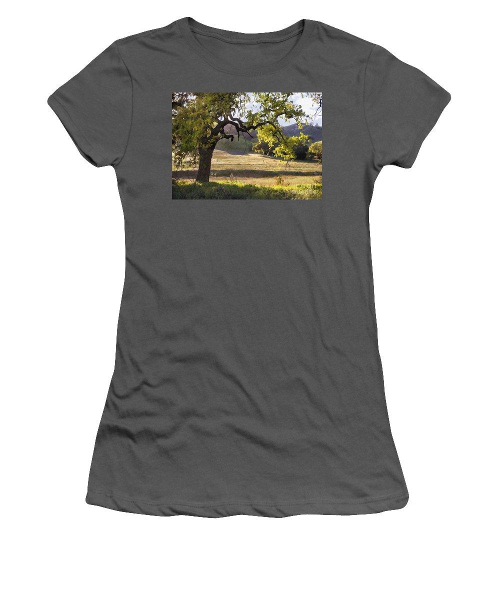 Oak Women's T-Shirt (Athletic Fit) featuring the digital art Golden Oaks by Sharon Foster