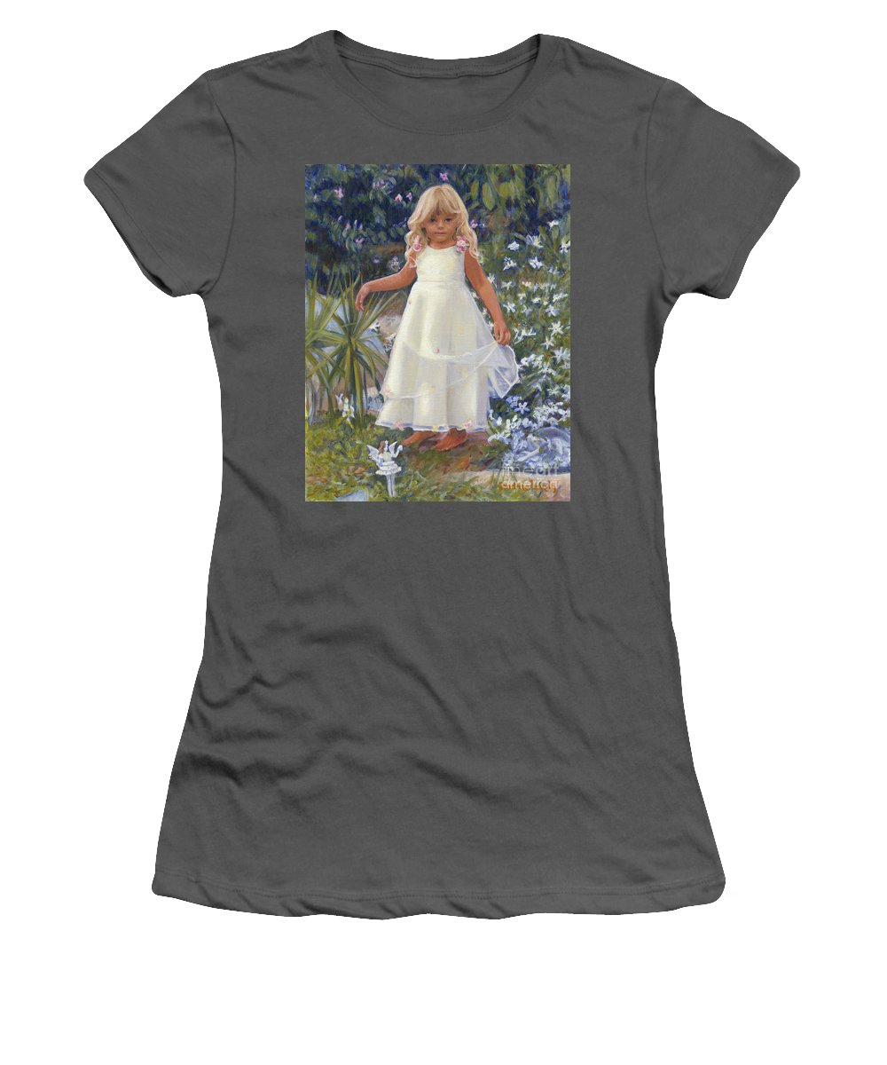 Child Women's T-Shirt (Athletic Fit) featuring the painting Grace In The Fairy Garden by Candace Lovely