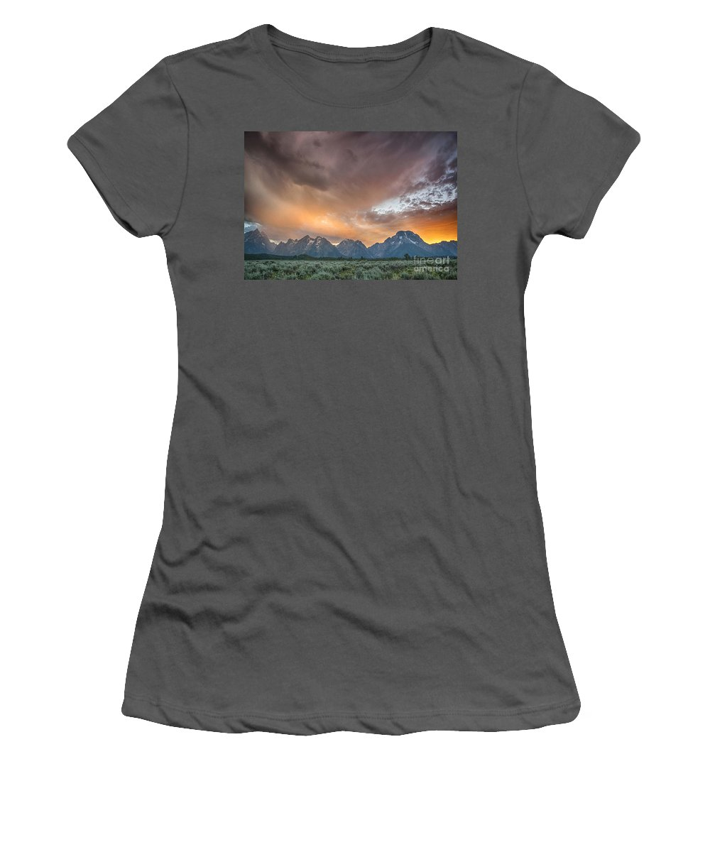 Tetons Women's T-Shirt (Athletic Fit) featuring the photograph Grand Finale by Claudia Kuhn