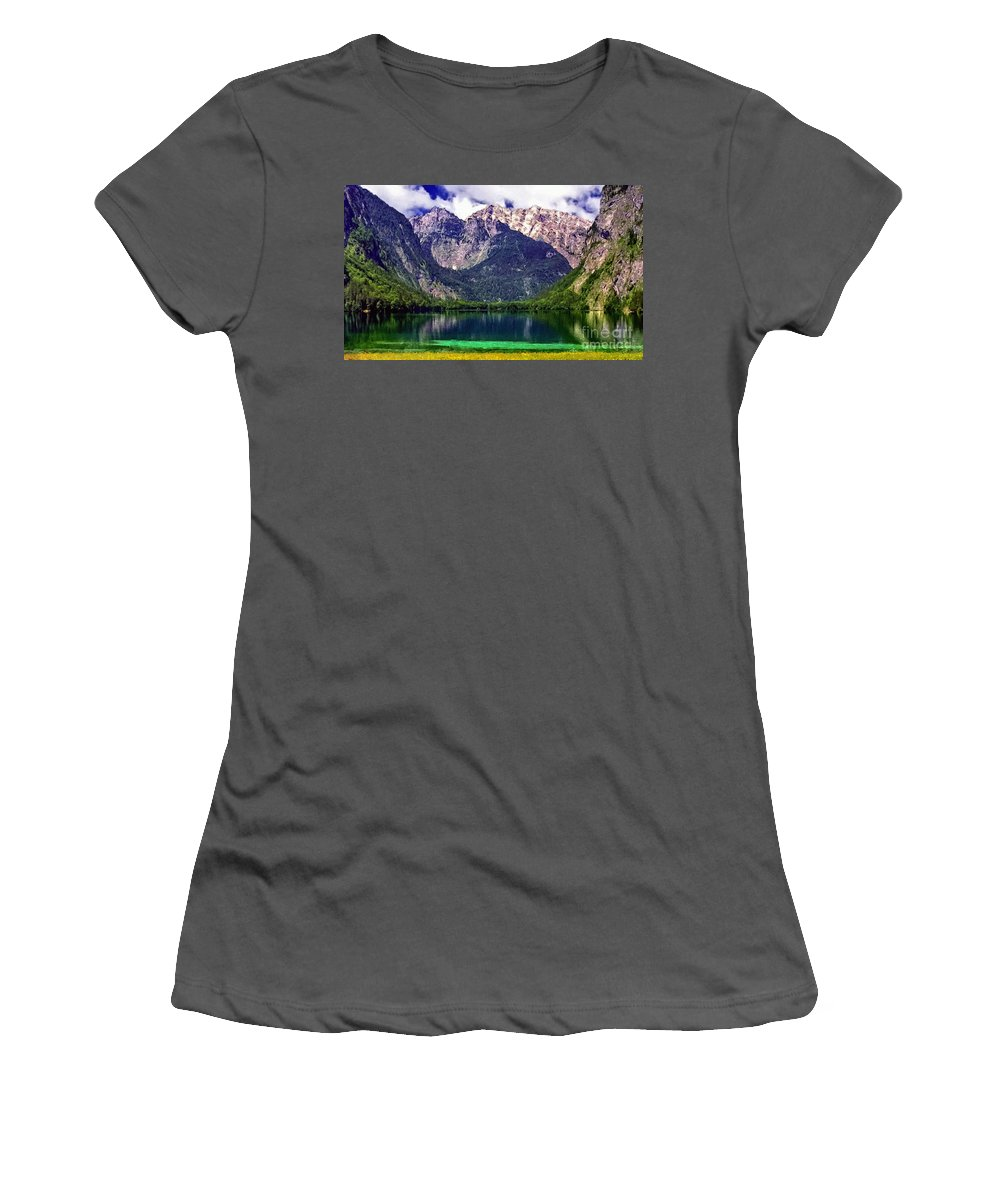 Wyoming Women's T-Shirt (Athletic Fit) featuring the digital art Grand Tetons National Park Painting by Bob and Nadine Johnston