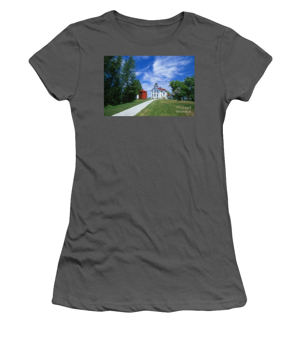 Grand Traverse Lighthouse Women's T-Shirt (Athletic Fit) featuring the photograph Grand Traverse Lighthouse by David Davis