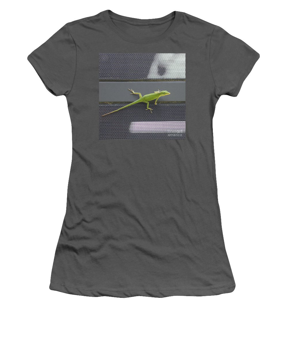 Green Women's T-Shirt (Athletic Fit) featuring the photograph Green Anole by Diane Macdonald