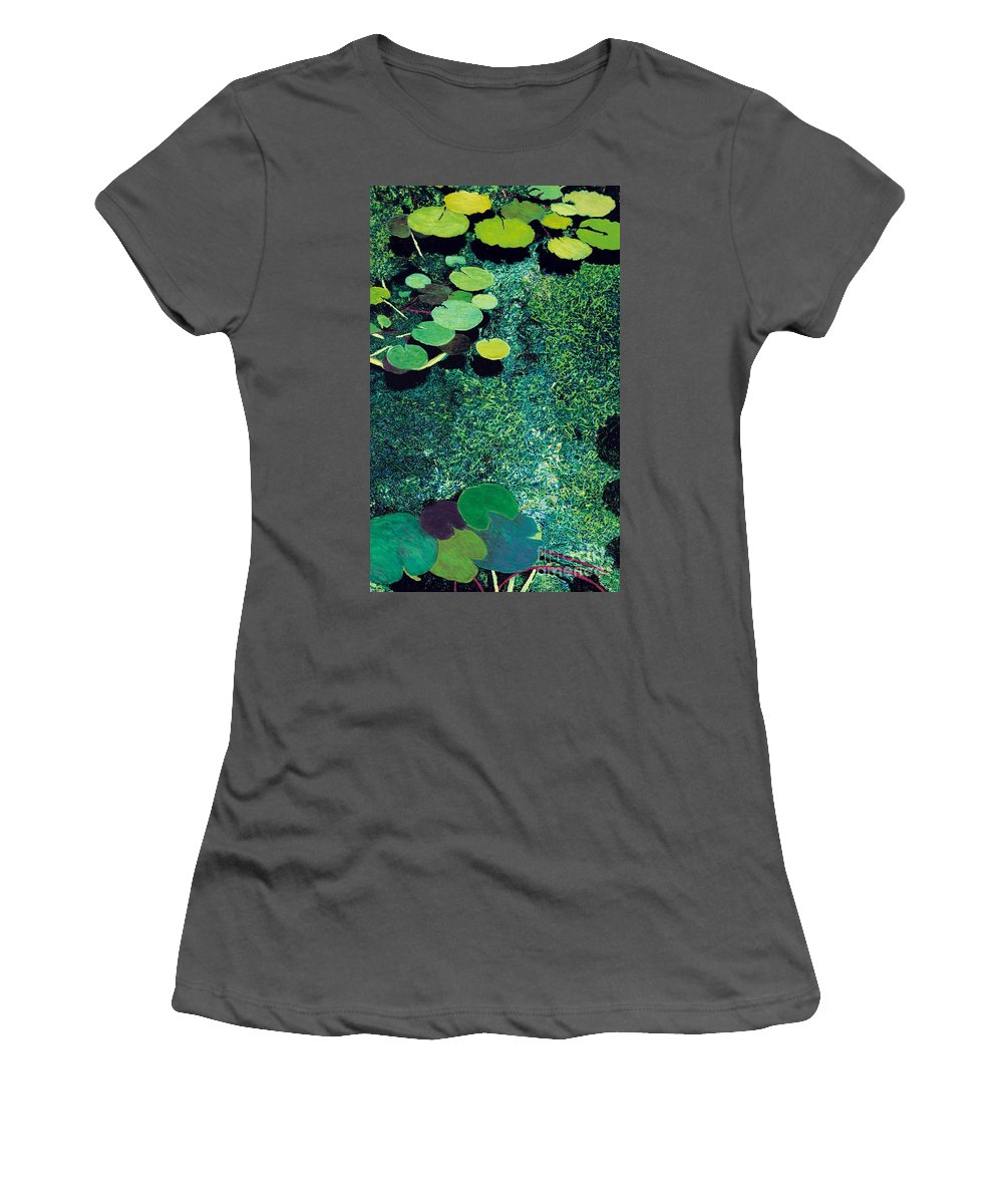 Landscape Women's T-Shirt (Athletic Fit) featuring the painting Green Shimmering Pond by Allan P Friedlander