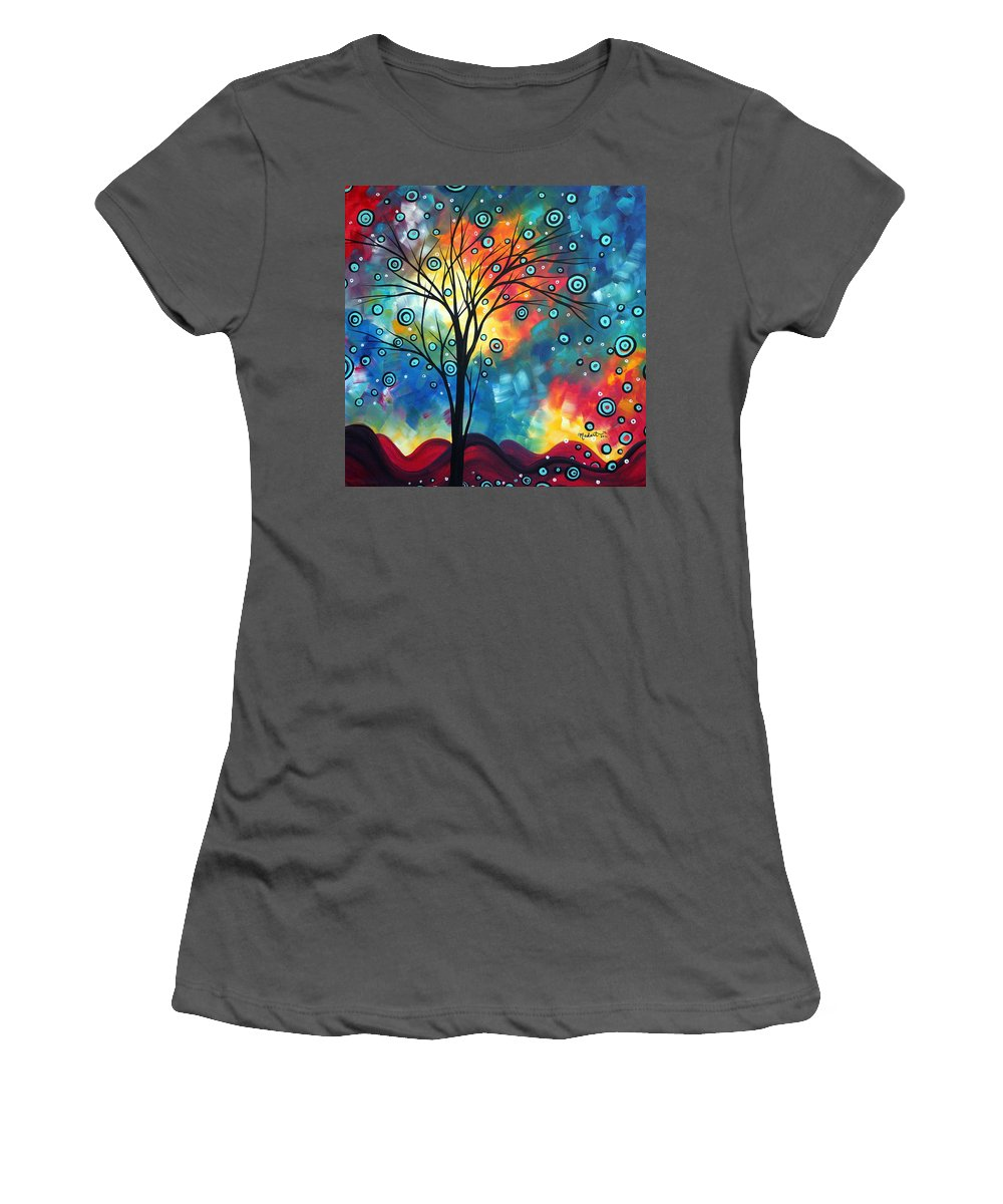 Wall Women's T-Shirt (Athletic Fit) featuring the painting Greeting The Dawn By Madart by Megan Duncanson