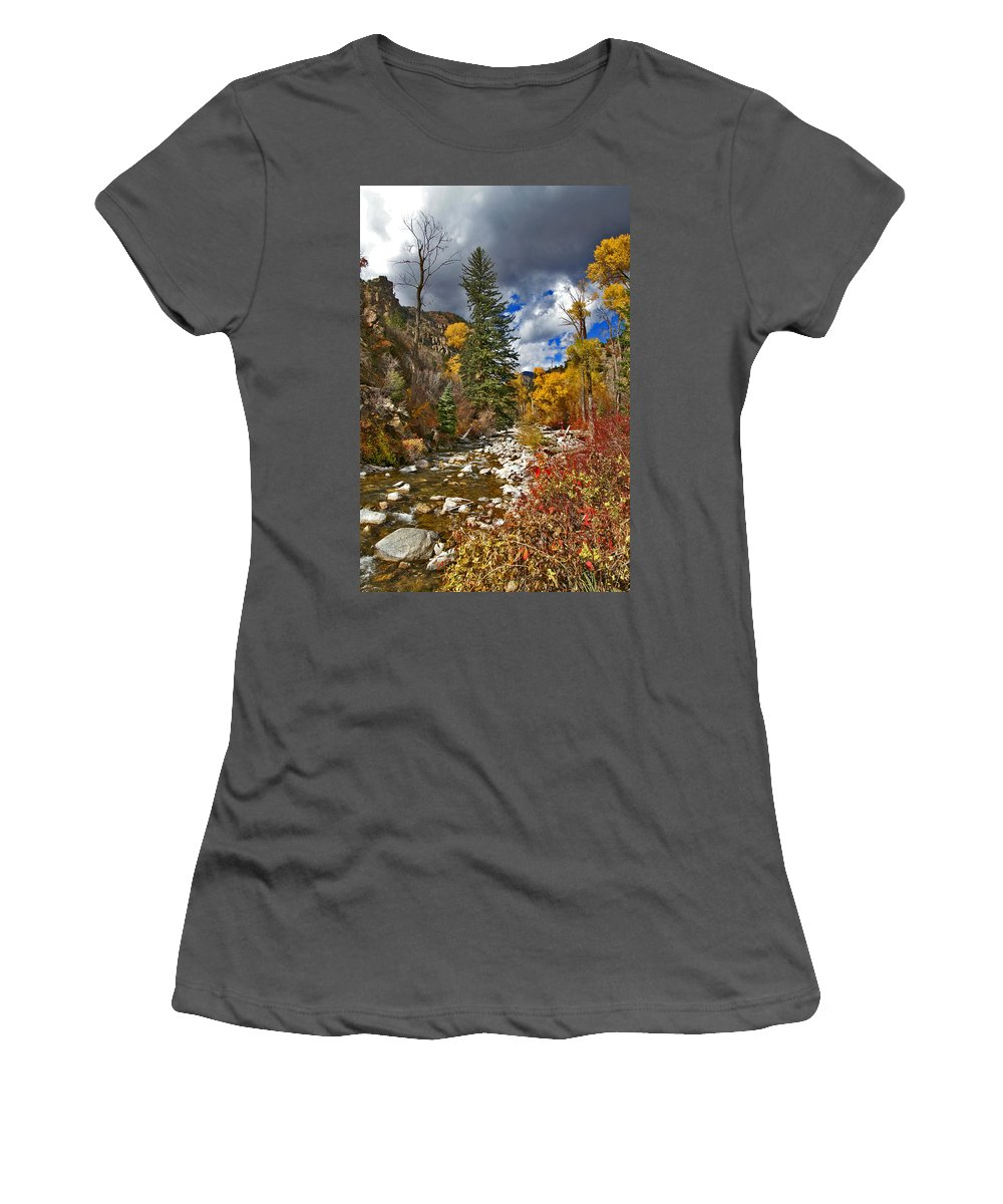 Grizzly Creek Women's T-Shirt (Athletic Fit) featuring the photograph Grizzly Creek Vertical by Jeremy Rhoades