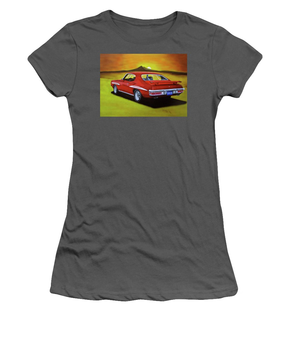 1971 Gto Women's T-Shirt (Athletic Fit) featuring the painting Gto 1971 by Thomas J Herring