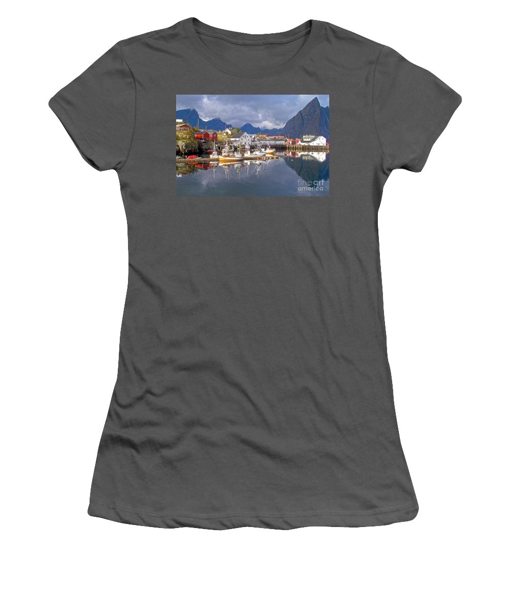 Heiko Women's T-Shirt (Athletic Fit) featuring the photograph Hamnoy Fishing Village On Lofoten Islands by Heiko Koehrer-Wagner