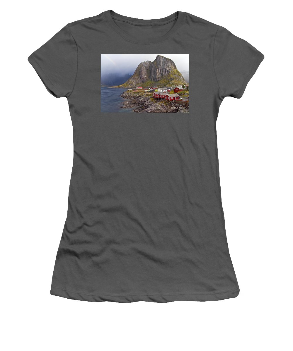 Women's T-Shirt (Athletic Fit) featuring the photograph Hamnoy Rorbu Village by Heiko Koehrer-Wagner
