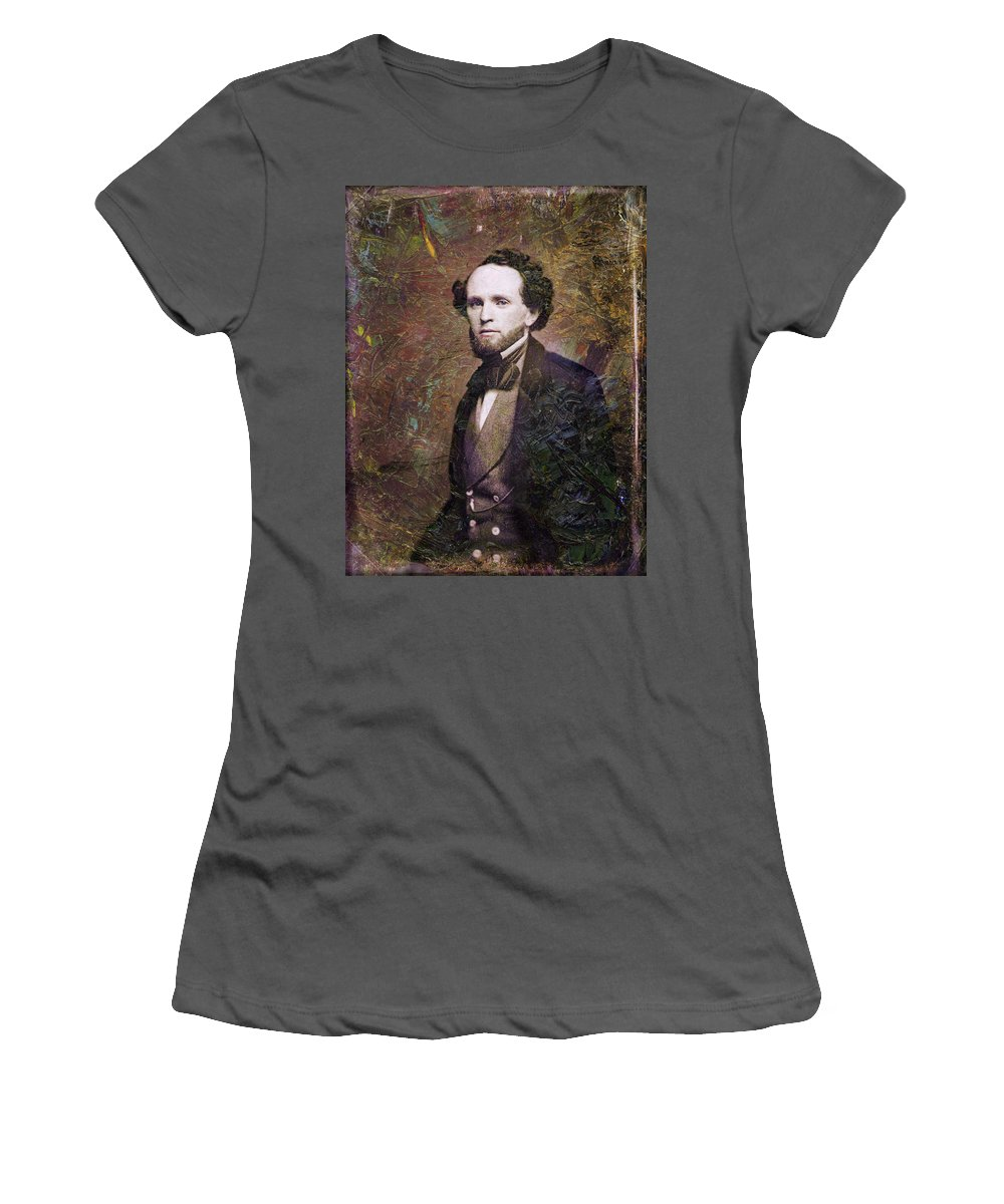 Daguerrotype Women's T-Shirt (Athletic Fit) featuring the painting Handsome Fellow 3 by James W Johnson
