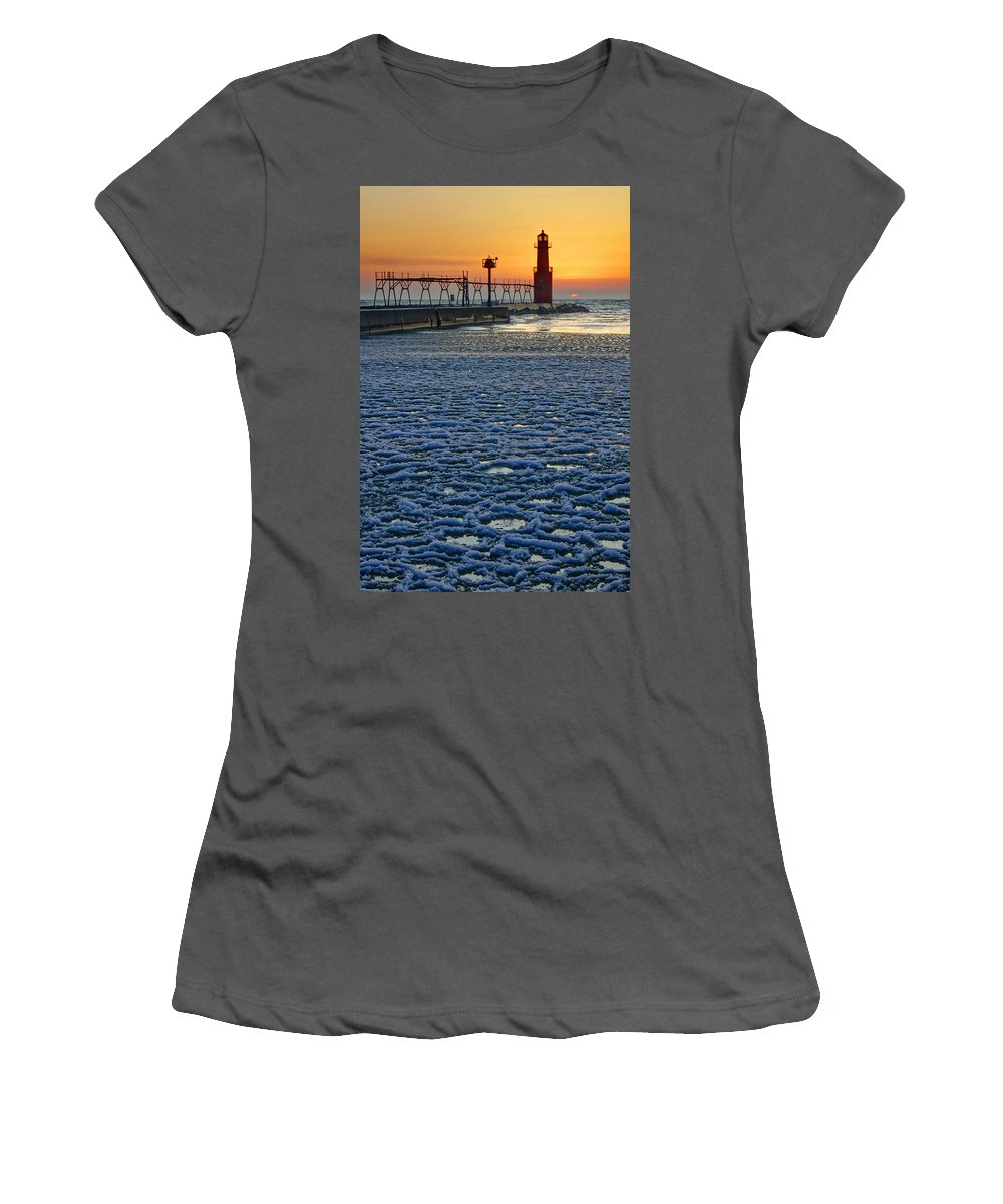 Lighthouse Women's T-Shirt (Athletic Fit) featuring the photograph Harbor Slush by Bill Pevlor
