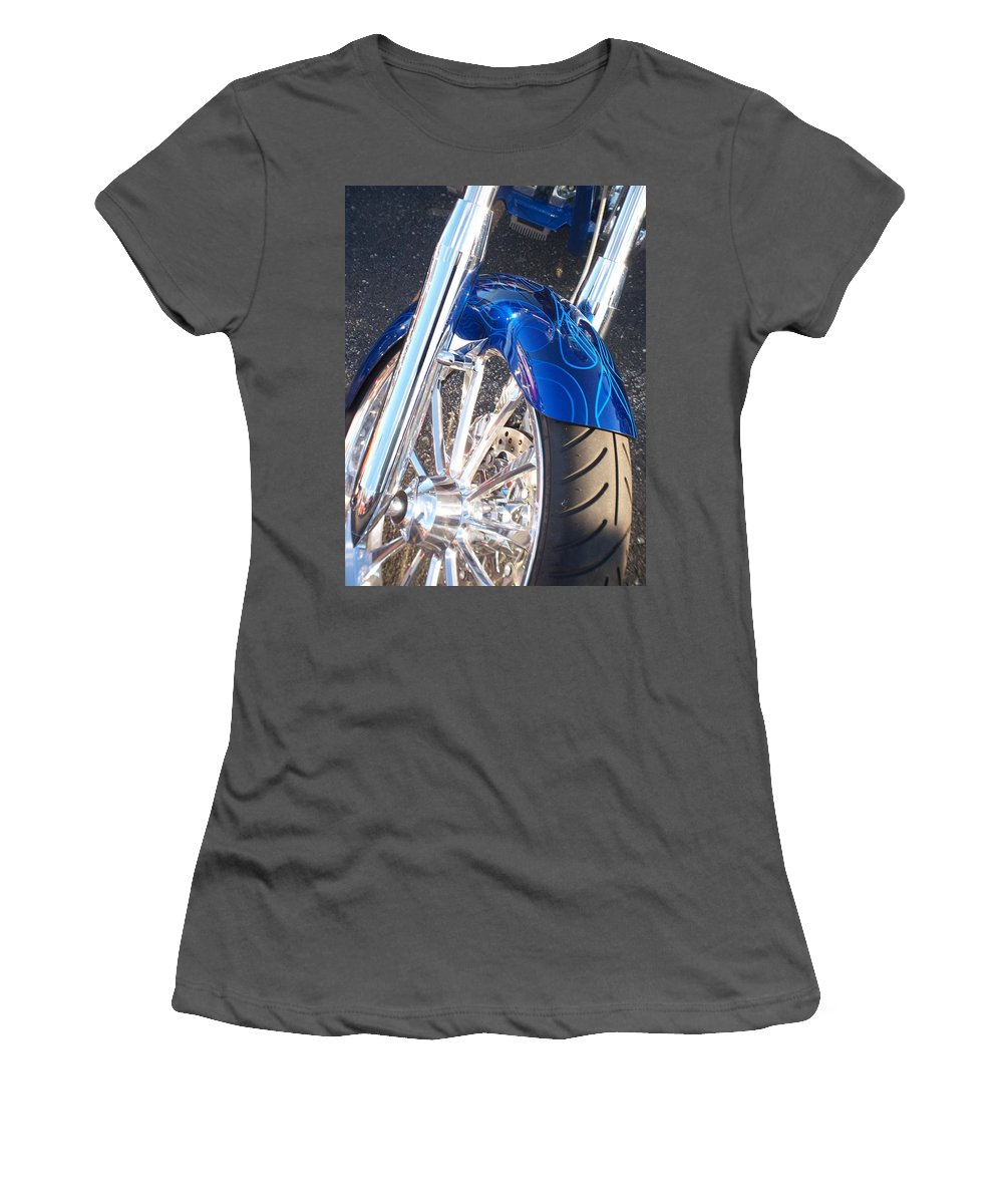 Motorcycles Women's T-Shirt (Athletic Fit) featuring the photograph Harley Close-up Blue Flame by Anita Burgermeister