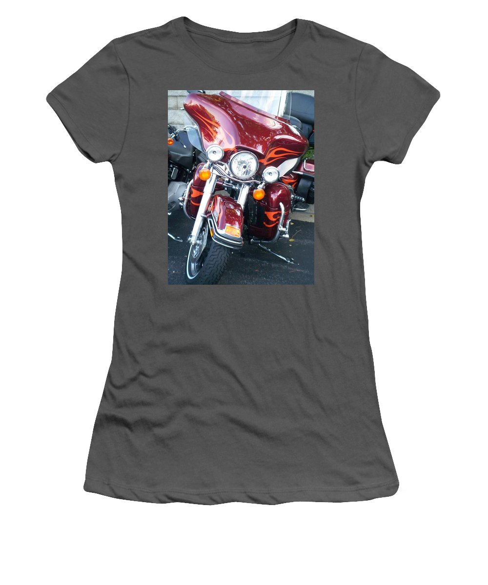 Motorcycles Women's T-Shirt (Athletic Fit) featuring the photograph Harley Red W Orange Flames by Anita Burgermeister