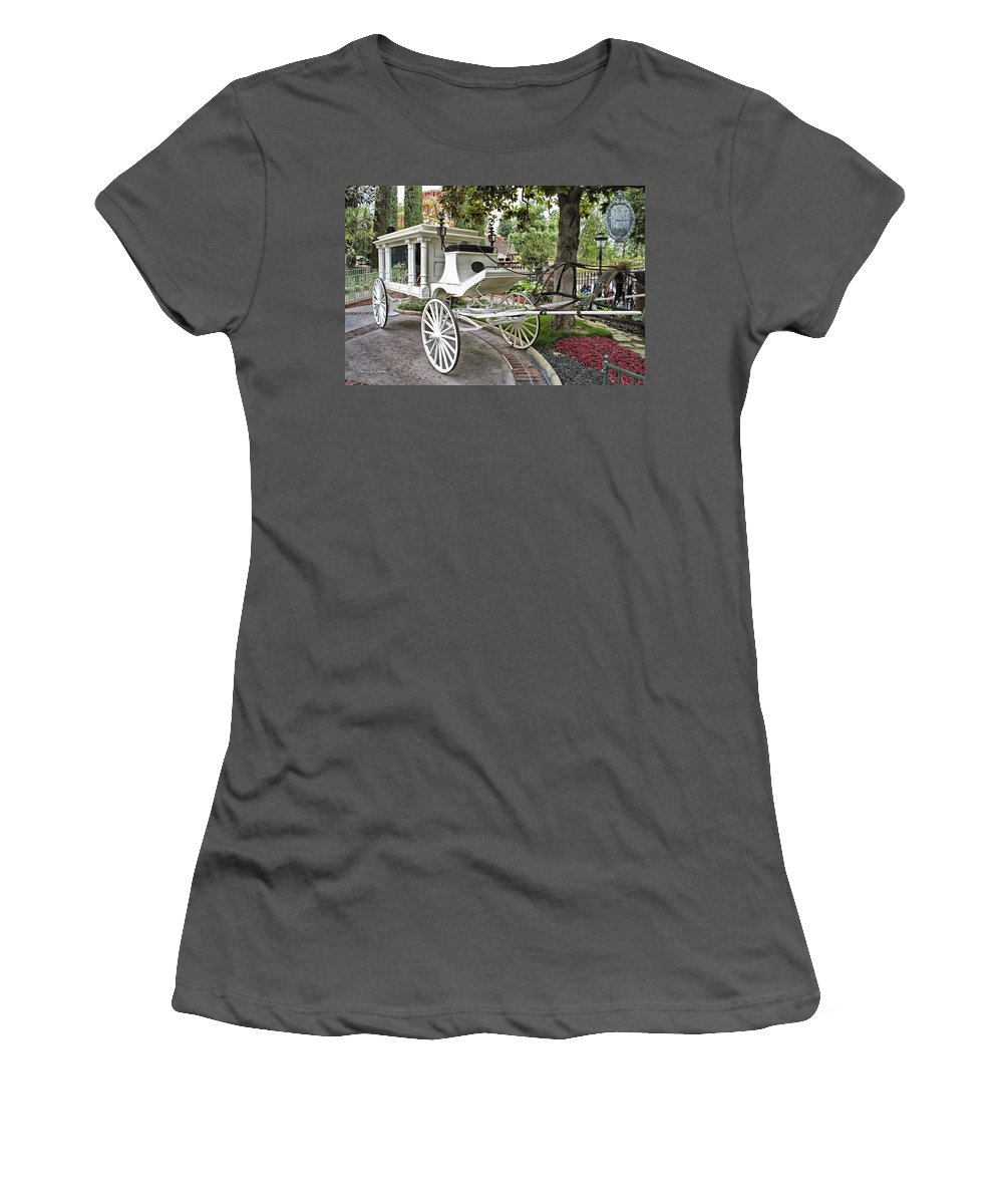 Disney Women's T-Shirt (Athletic Fit) featuring the photograph Haunted Mansion Hearse New Orleans Disneyland by Thomas Woolworth