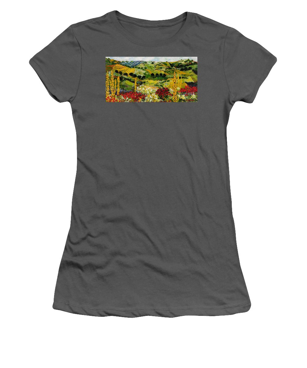 Landscape Women's T-Shirt (Athletic Fit) featuring the painting Heavenly View by Allan P Friedlander