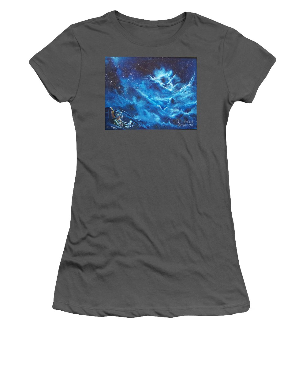 Astro Women's T-Shirt (Athletic Fit) featuring the painting Heavens Gate by Murphy Elliott