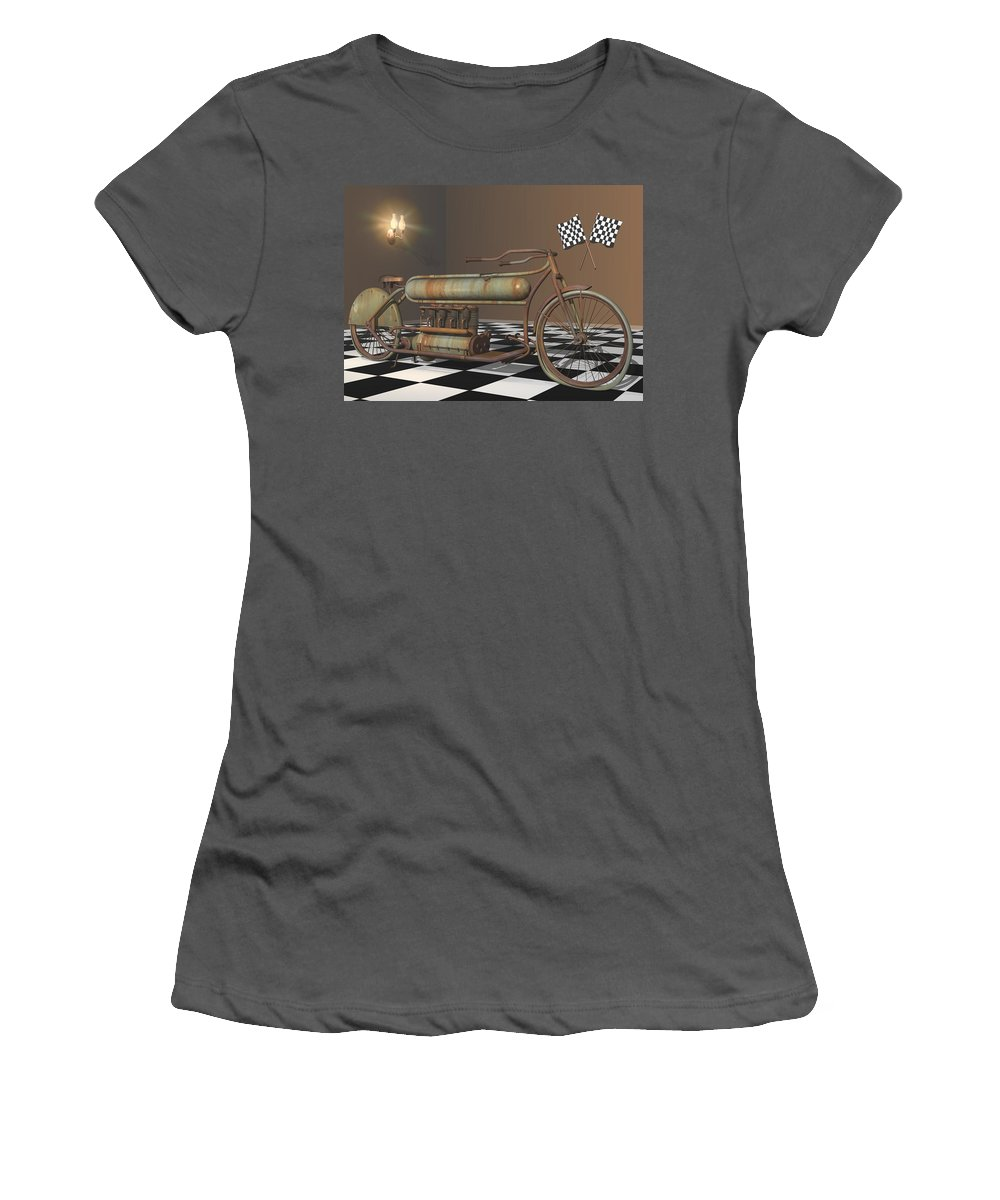 Motorcycle Women's T-Shirt (Athletic Fit) featuring the digital art Henderson Special by Stuart Swartz