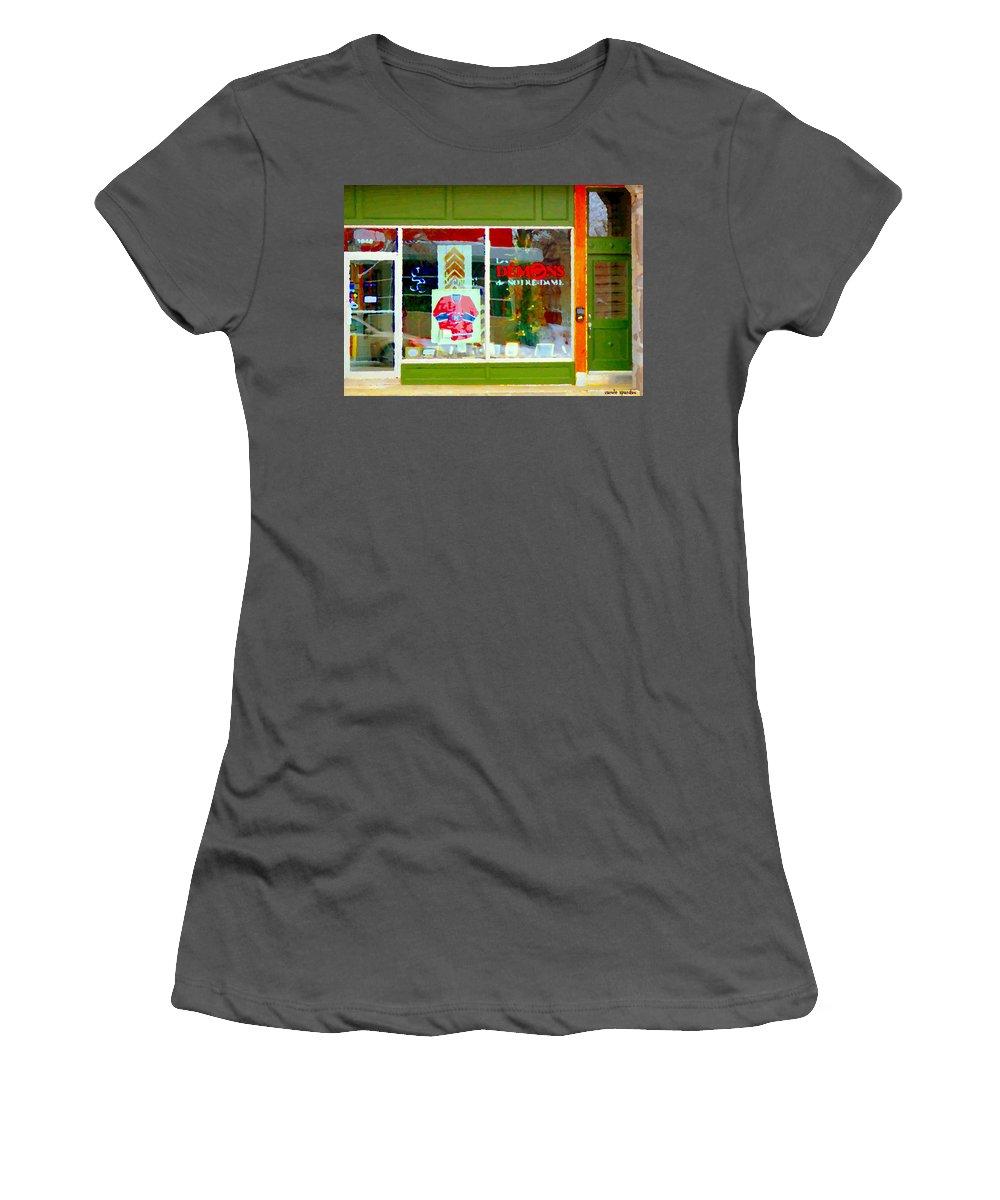 St.henri Women's T-Shirt (Athletic Fit) featuring the painting Historic Habs Hockey Jersey St Henri Storefront Les Demons De Notre Dame Montreal Art Carole Spandau by Carole Spandau
