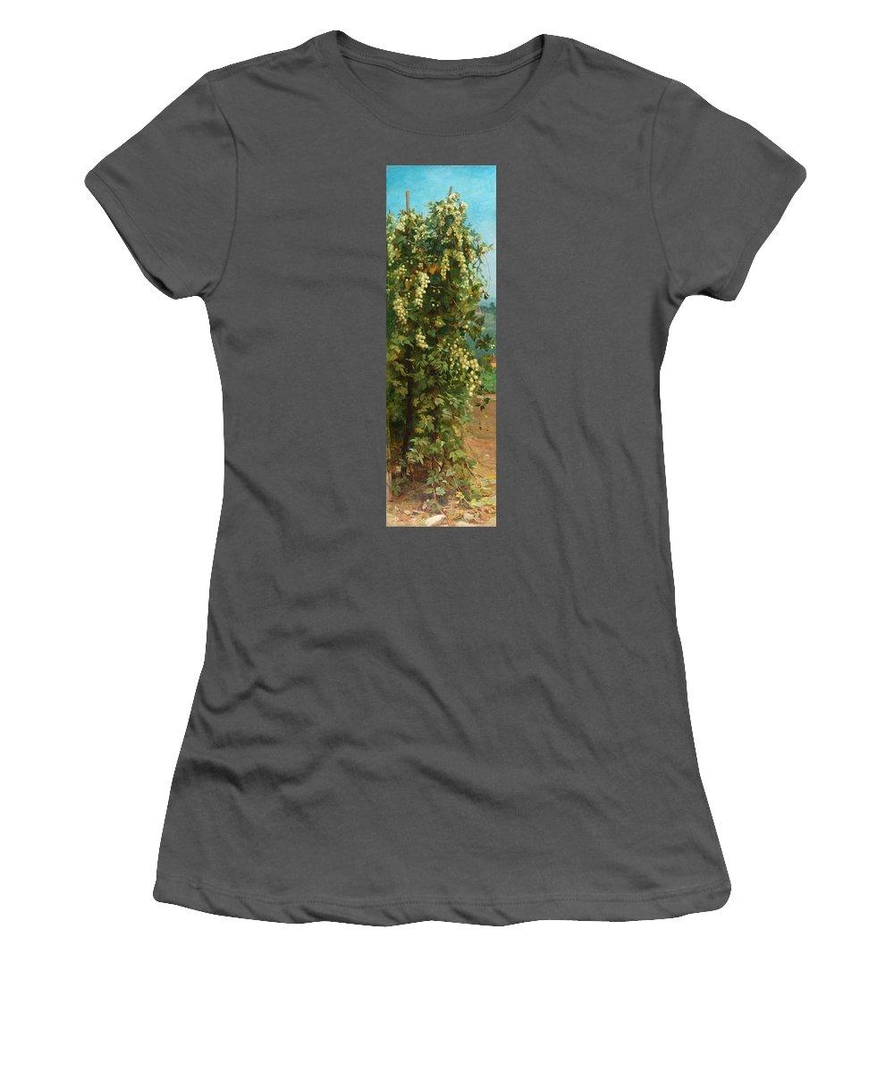 Hop; Hops; Crop; Crops; Flower; Flowers; Plant; Vine; Vines; Beer; Rural; Countryside Women's T-Shirt (Athletic Fit) featuring the painting Hops 1882 by Philip Hermogenes Calderon