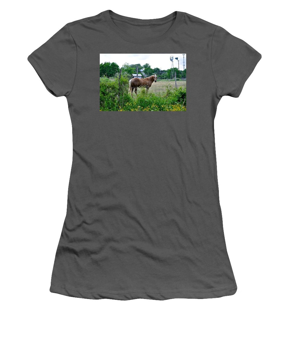 Horse And Flower Print Women's T-Shirt (Athletic Fit) featuring the photograph Country Horse by Kristina Deane