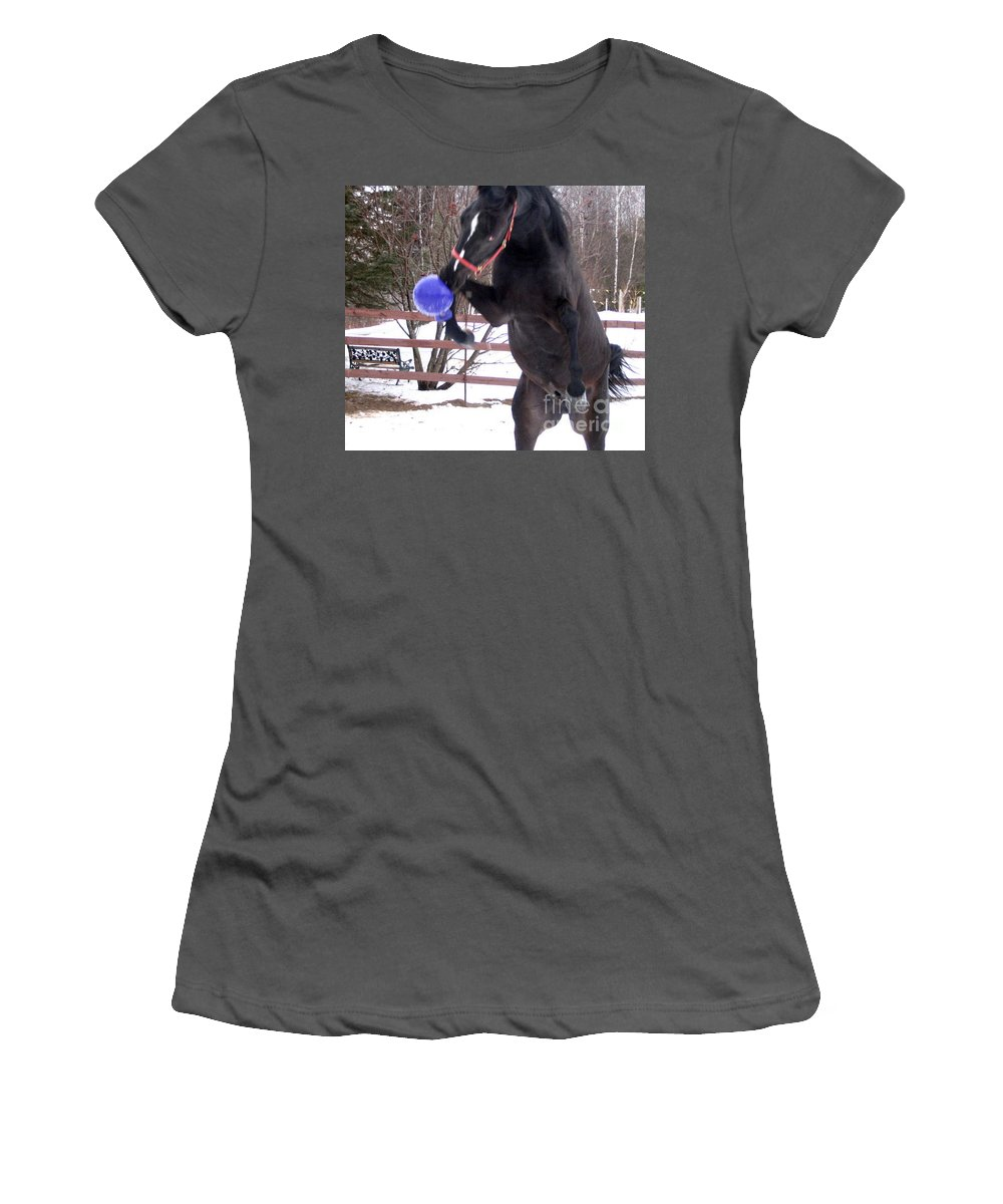 Horse Women's T-Shirt (Athletic Fit) featuring the photograph Horse Playing Ball by Line Gagne