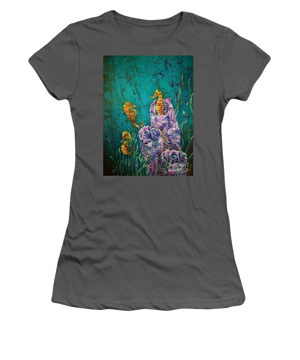 Seahorses Women's T-Shirt (Athletic Fit) featuring the tapestry - textile Horsin Around by Sue Duda