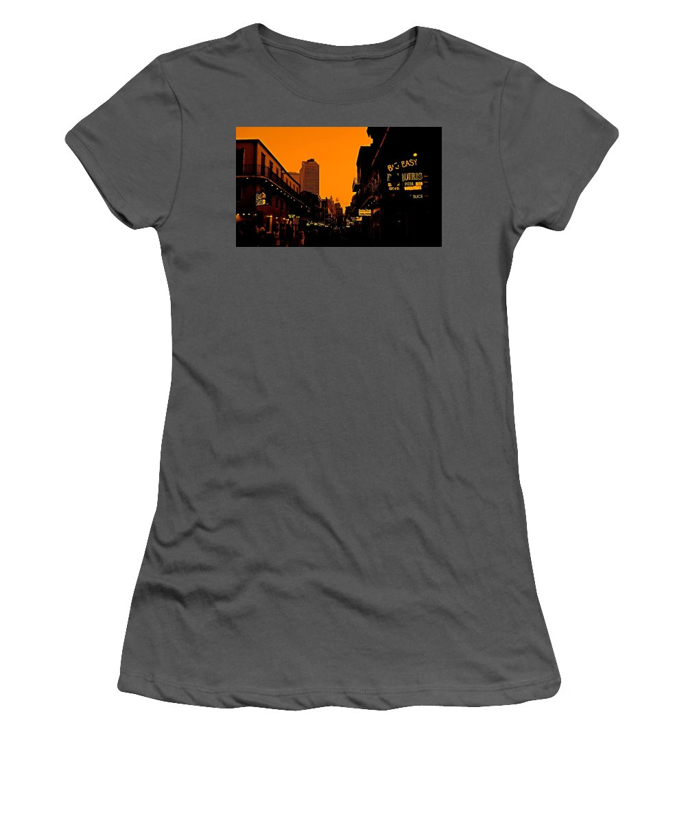Clubs Women's T-Shirt (Athletic Fit) featuring the photograph Hot Nights On Bourbon Street by Judy Hall-Folde