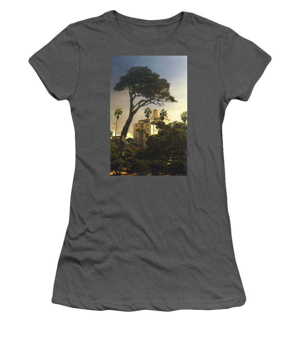 Landscape Women's T-Shirt (Athletic Fit) featuring the photograph Hotel California- La Jolla by Steve Karol