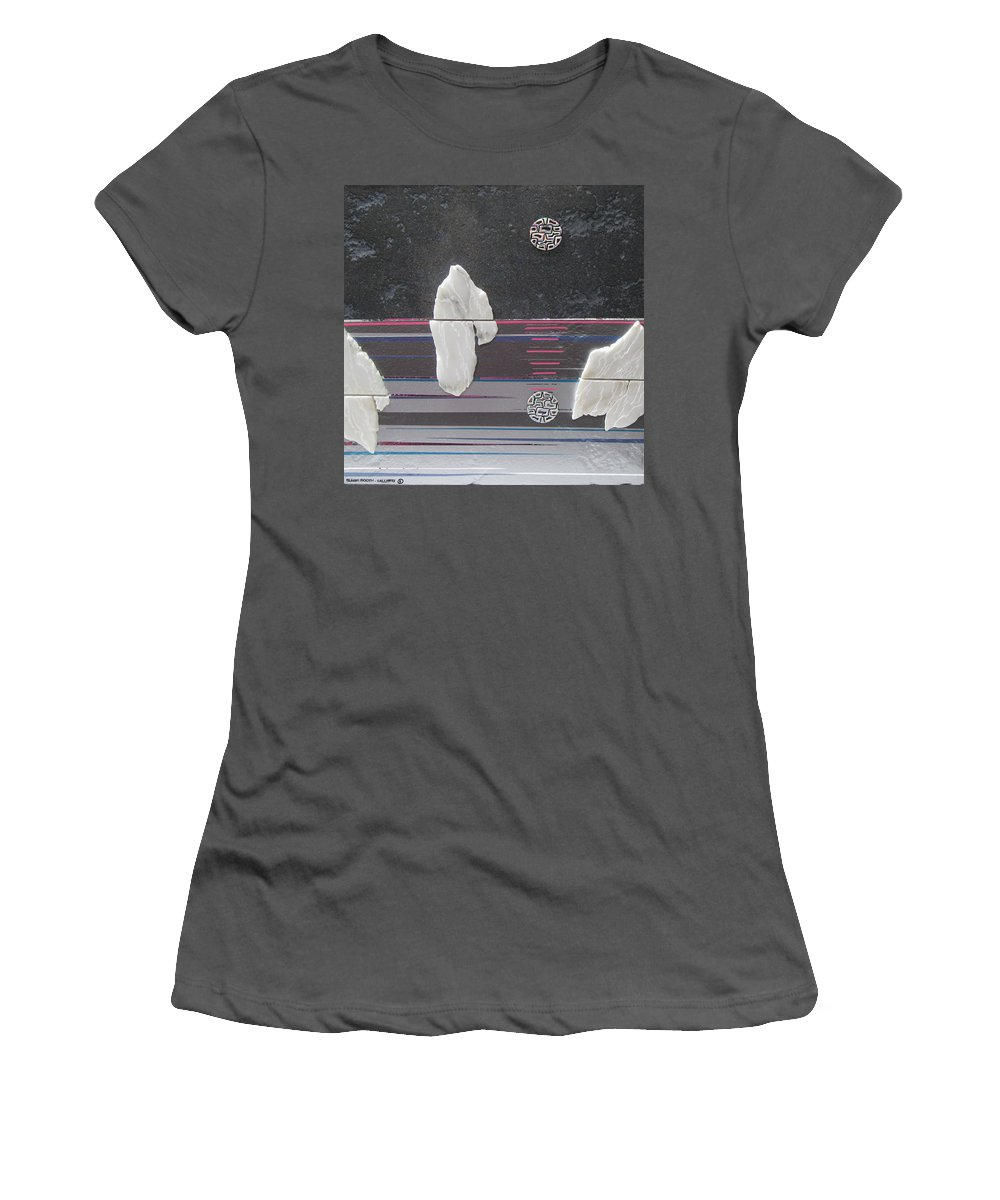 Assemblage Women's T-Shirt (Athletic Fit) featuring the mixed media Ice Bergs by Elaine Booth-Kallweit