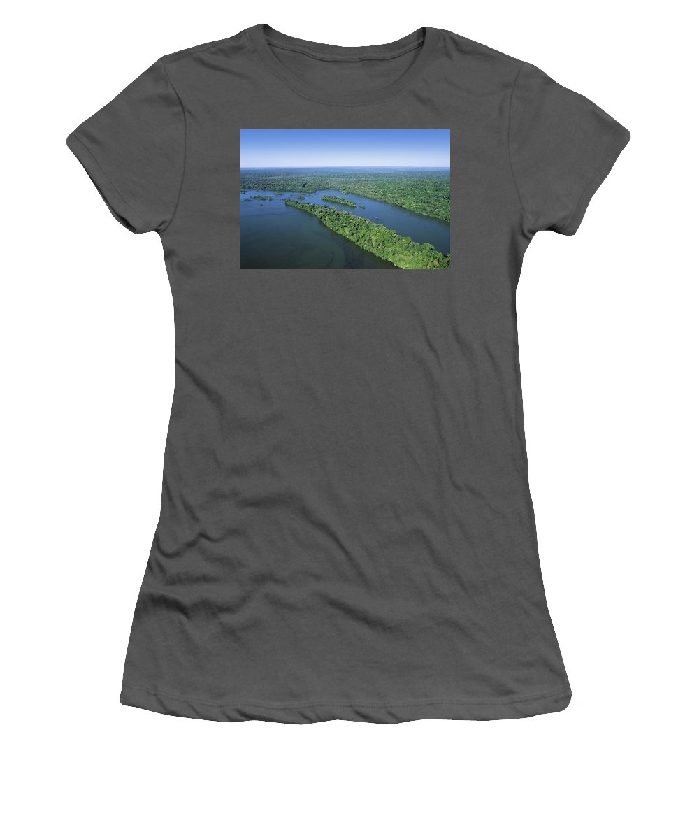 Feb0514 Women's T-Shirt (Athletic Fit) featuring the photograph Iguacu River Above Iguacu Falls Brazil by Konrad Wothe