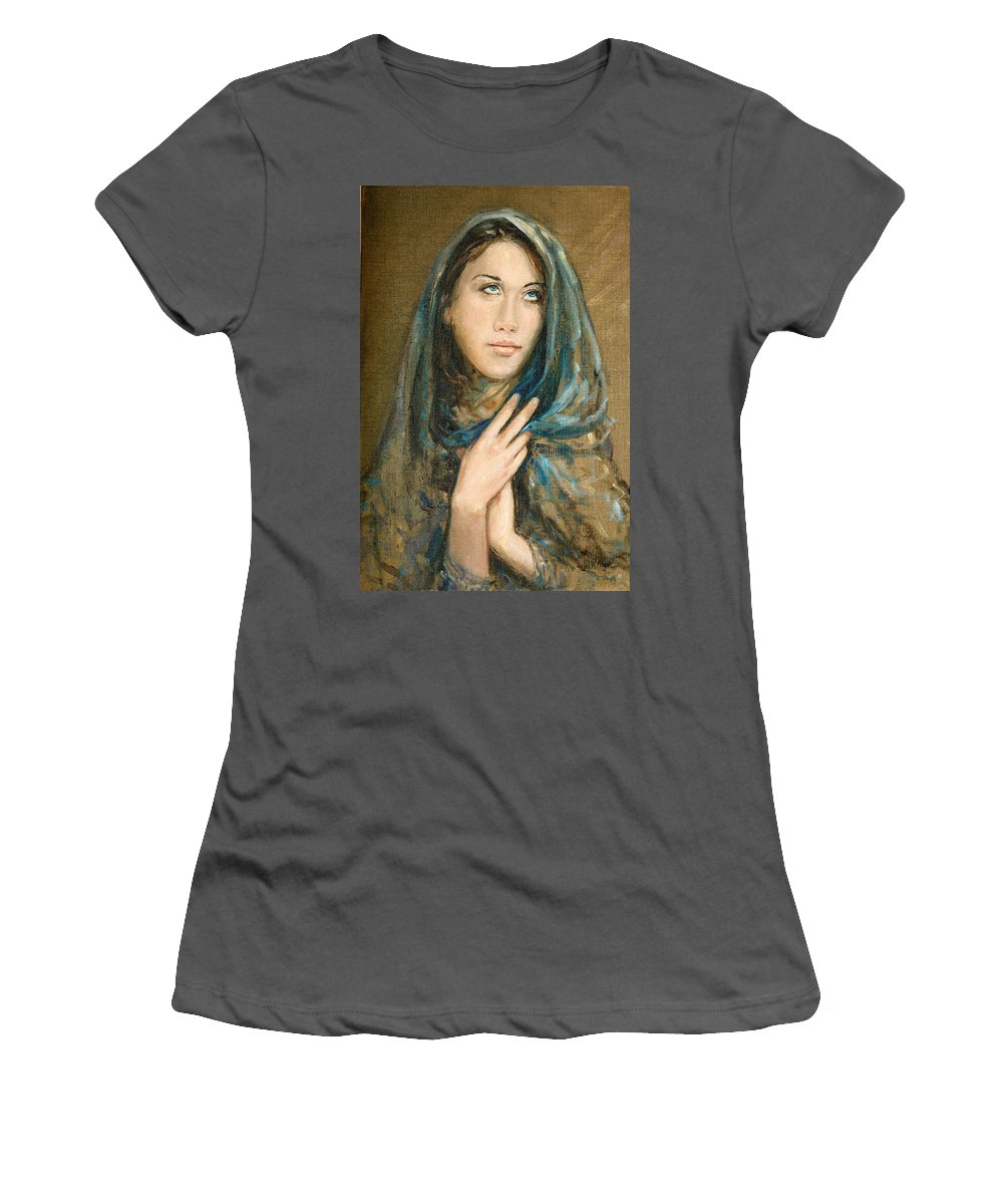 Portrait Women's T-Shirt (Athletic Fit) featuring the painting Ikesia by Sefedin Stafa