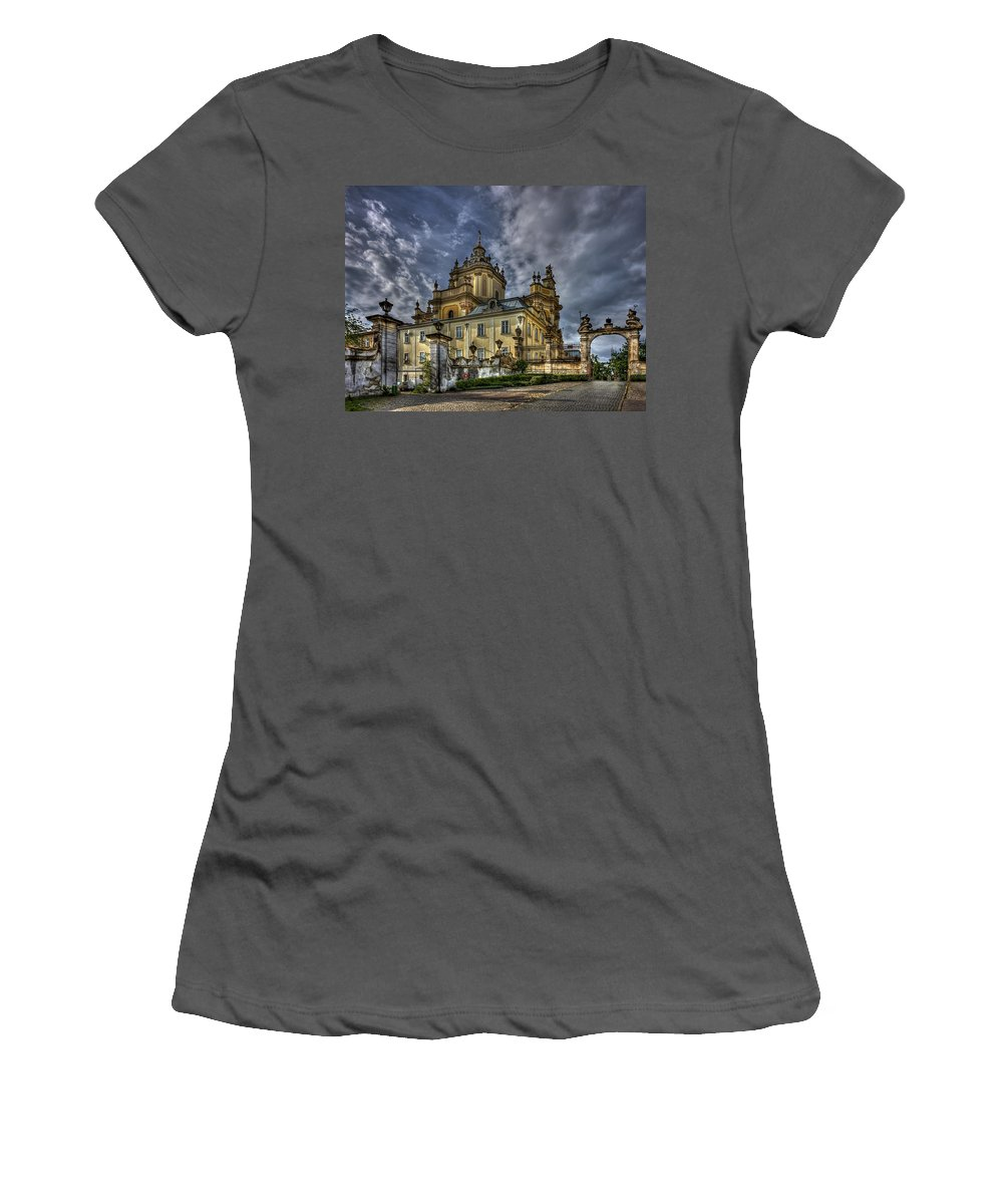Church Women's T-Shirt (Athletic Fit) featuring the photograph In Joy And Sorrow by Evelina Kremsdorf