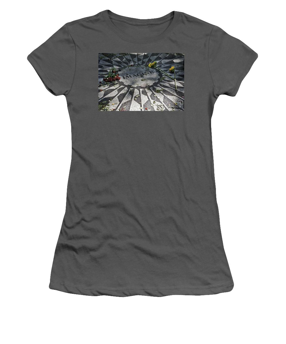 Imagine Women's T-Shirt (Athletic Fit) featuring the photograph In Memory Of John Lennon - Imagine by Madeline Ellis