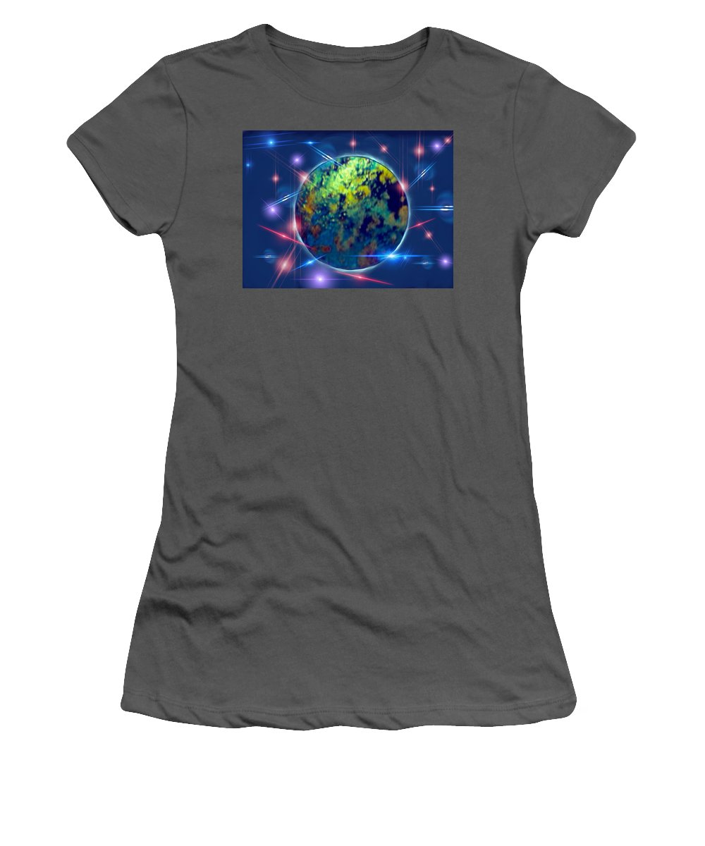 Night Sky Moonlight Iridescent Moon Stars Starlight Women's T-Shirt (Athletic Fit) featuring the painting Iridescent Moon by Nikki Keep