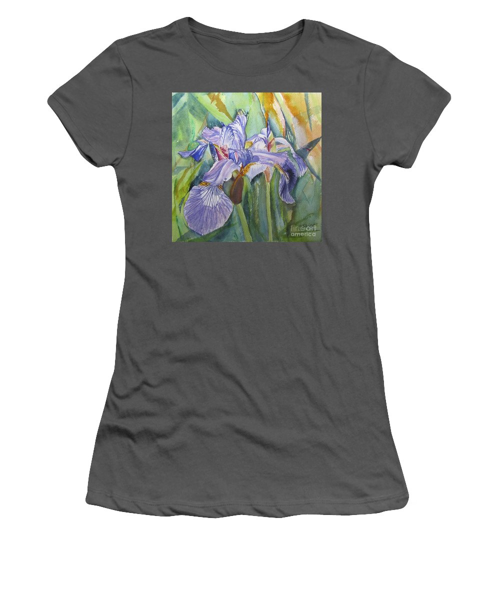 Iris Women's T-Shirt (Athletic Fit) featuring the painting Iris by Carol Flagg