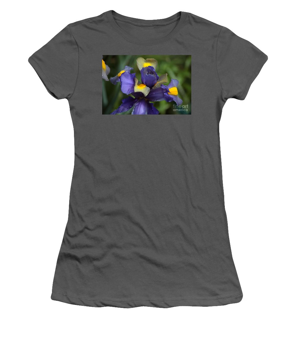 Blue Flowers Women's T-Shirt (Athletic Fit) featuring the photograph Iris Close Up by Luv Photography