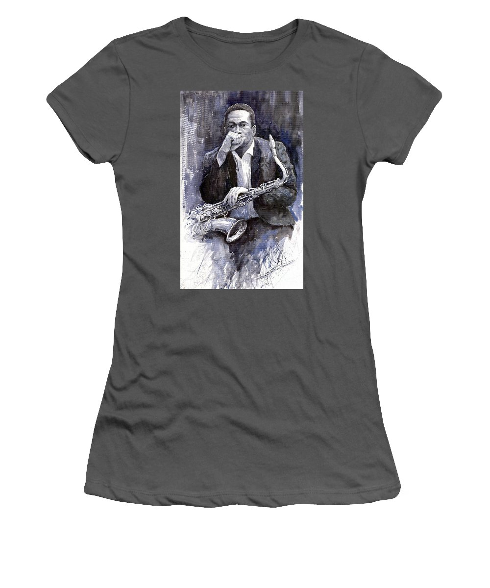 Jazz Women's T-Shirt (Athletic Fit) featuring the painting Jazz Saxophonist John Coltrane Black by Yuriy Shevchuk
