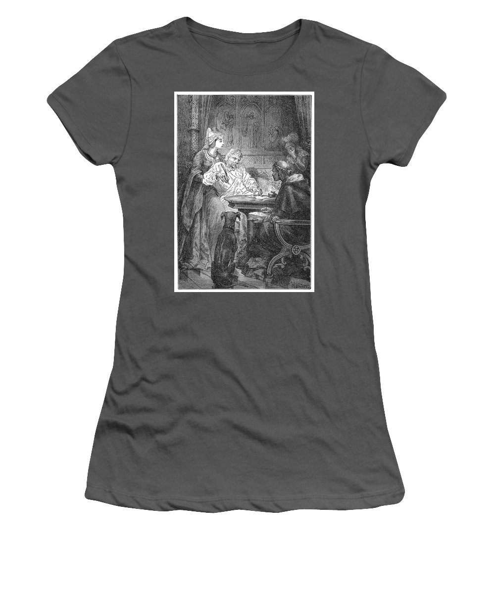 14th Century Women's T-Shirt (Athletic Fit) featuring the painting Jean De B�thencourt (c1360-1422) by Granger