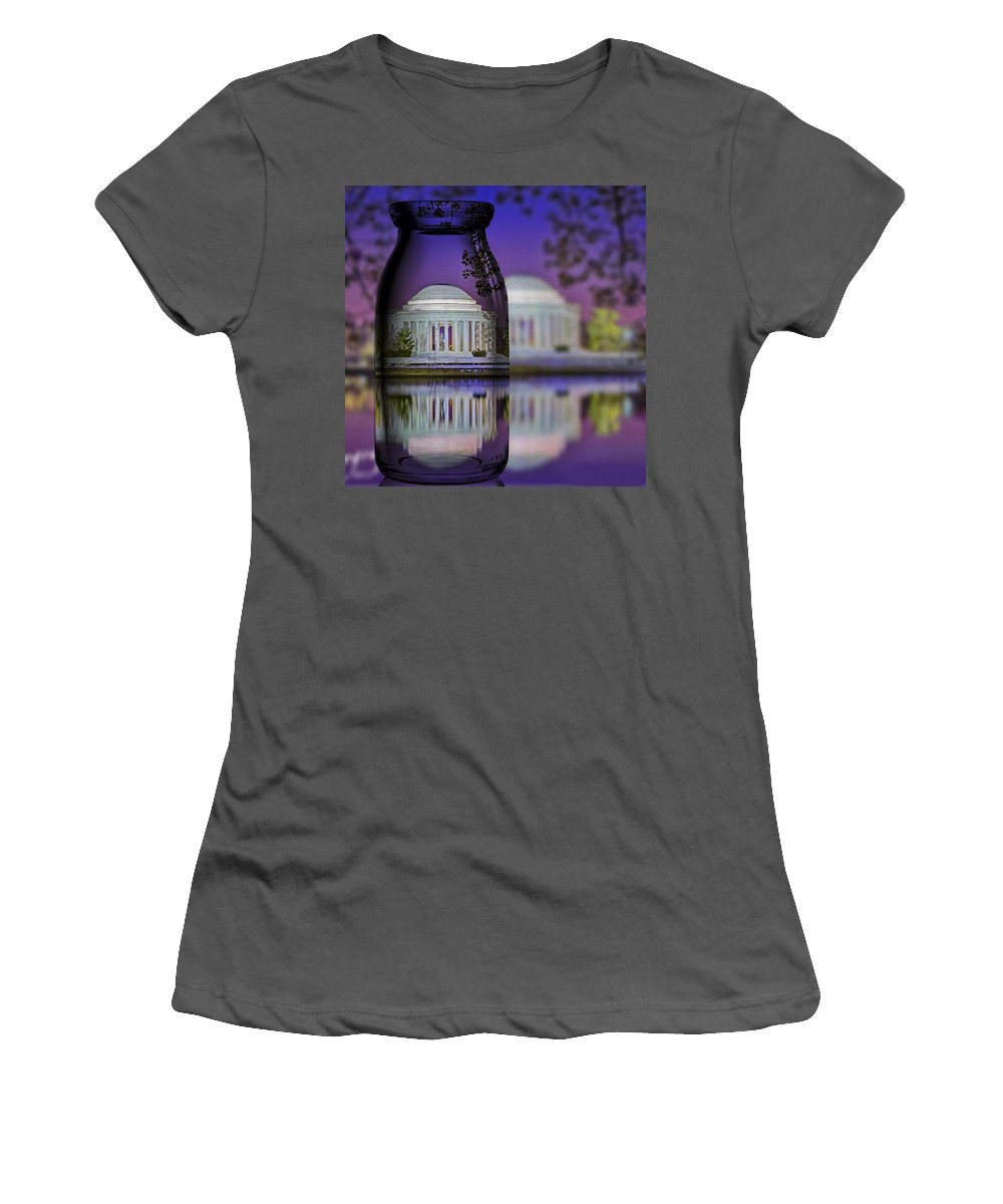 Thomas Jefferson Memorial Women's T-Shirt (Athletic Fit) featuring the photograph Jefferson Memorial In A Bottle by Susan Candelario