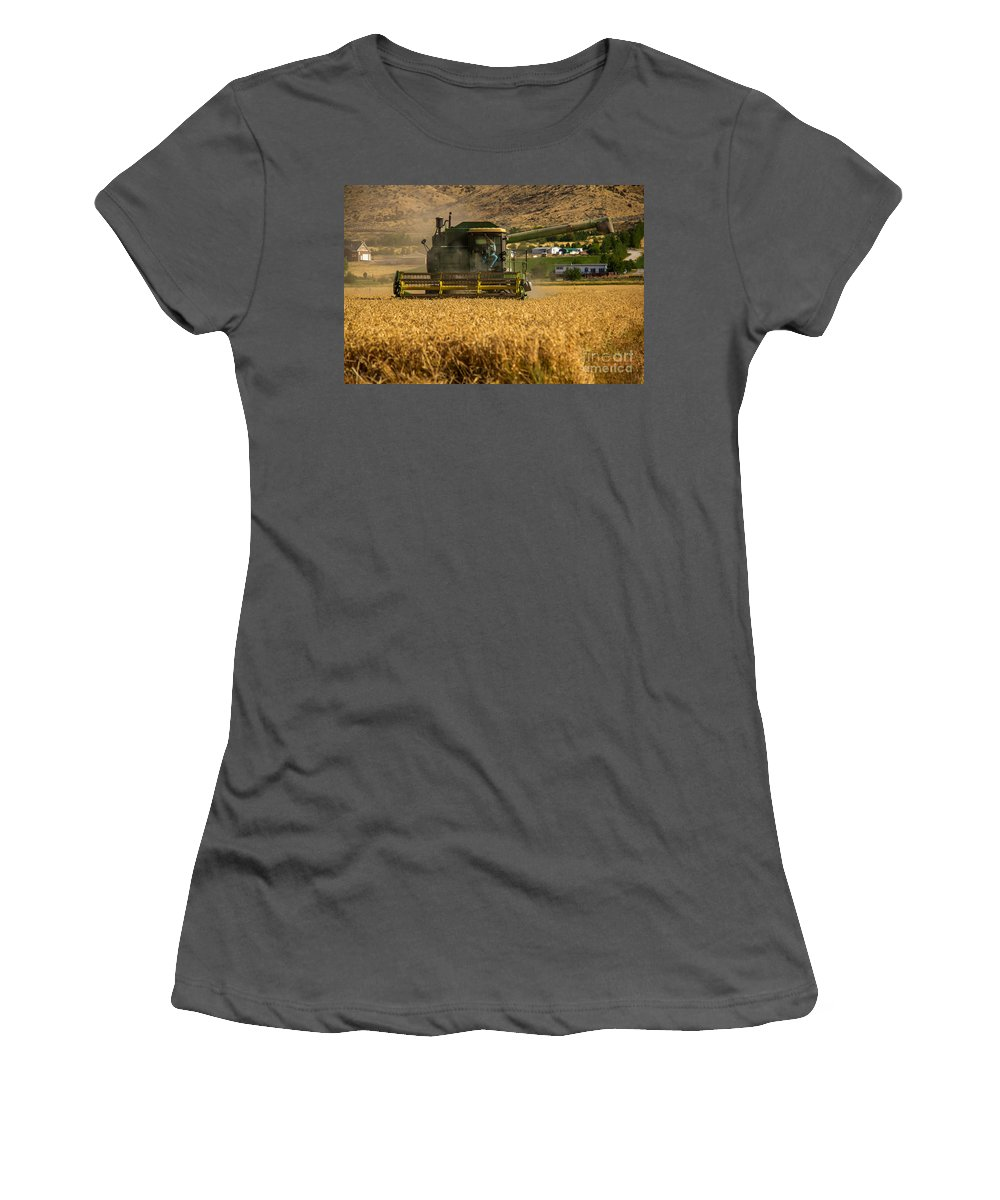 Wheat Women's T-Shirt (Athletic Fit) featuring the photograph John Deer by Robert Bales