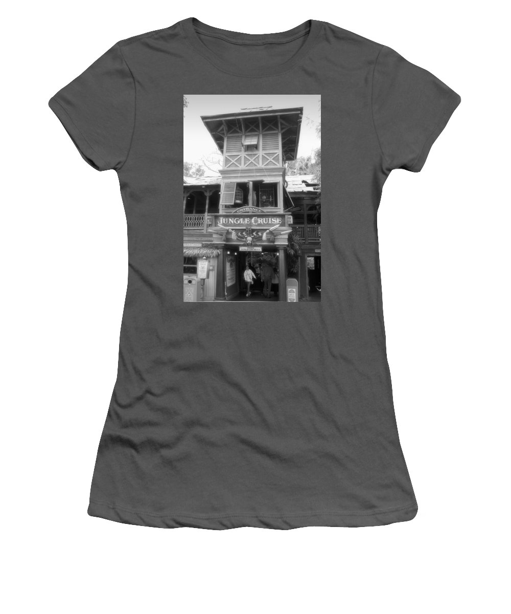 Disney Women's T-Shirt (Athletic Fit) featuring the photograph Jungle Cruise Adventureland Disneyland Bw by Thomas Woolworth