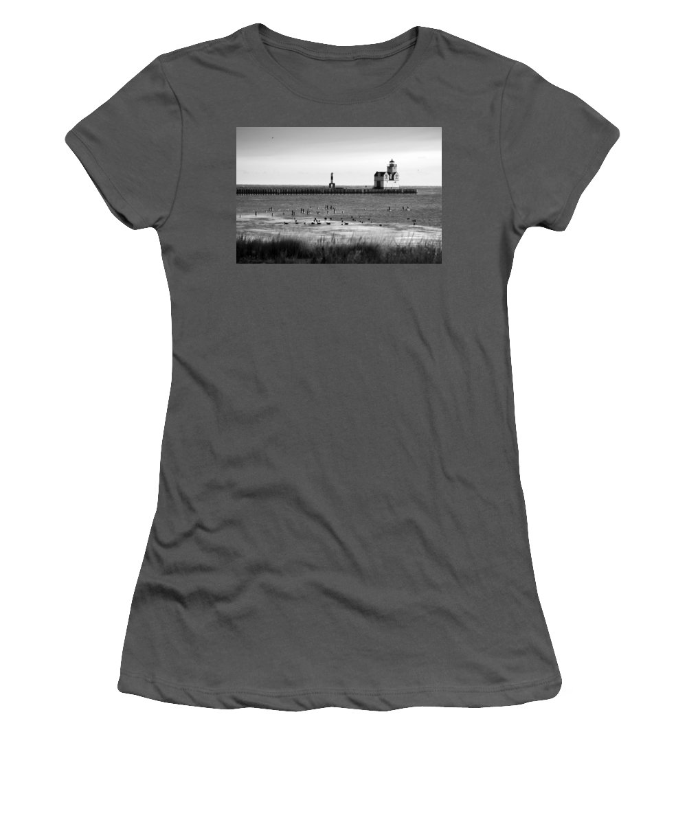 Lighthouse Women's T-Shirt (Athletic Fit) featuring the photograph Kewaunee Lighthouse In Bandw by Bill Pevlor