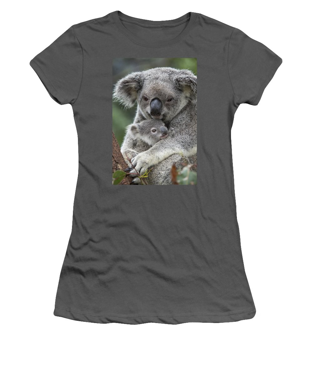 Feb0514 Women's T-Shirt (Athletic Fit) featuring the photograph Koala Mother Holding Joey Australia by Suzi Eszterhas