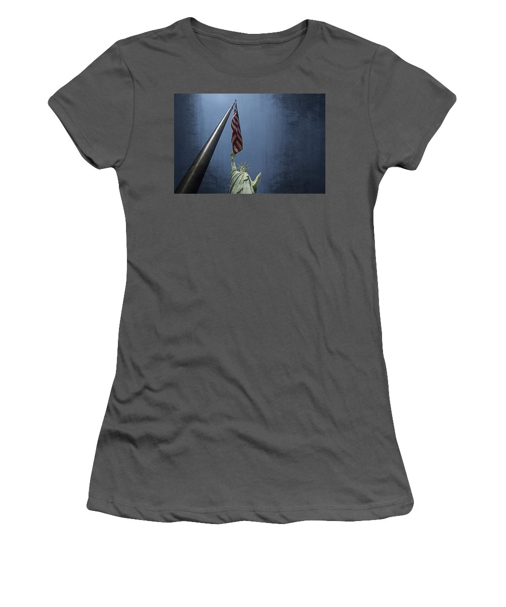 Lady Liberty Vegas Women's T-Shirt (Athletic Fit) featuring the photograph Lady Liberty Vegas by See My Photos