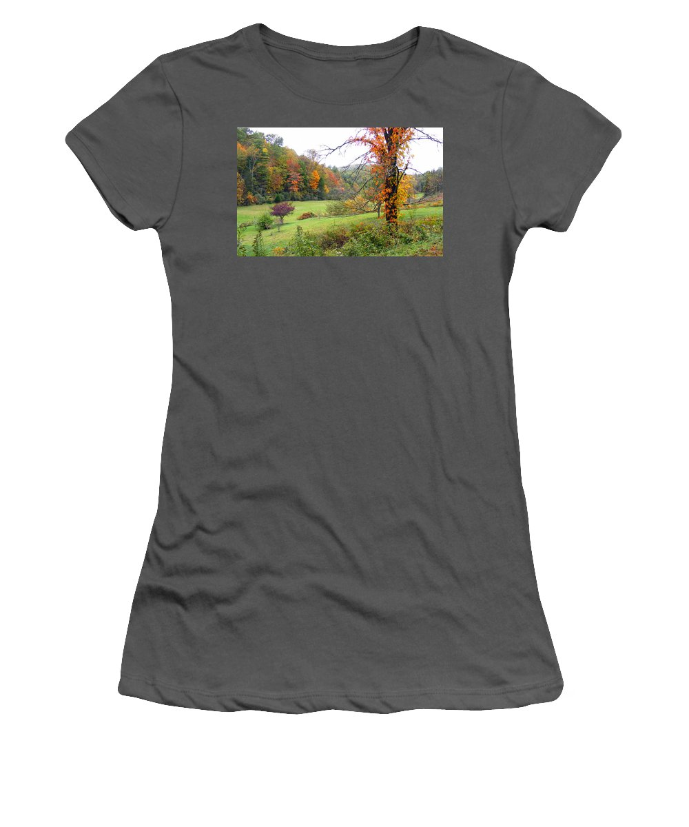 Duane Mccullough Women's T-Shirt (Athletic Fit) featuring the photograph Lamance Valley In The Fall by Duane McCullough
