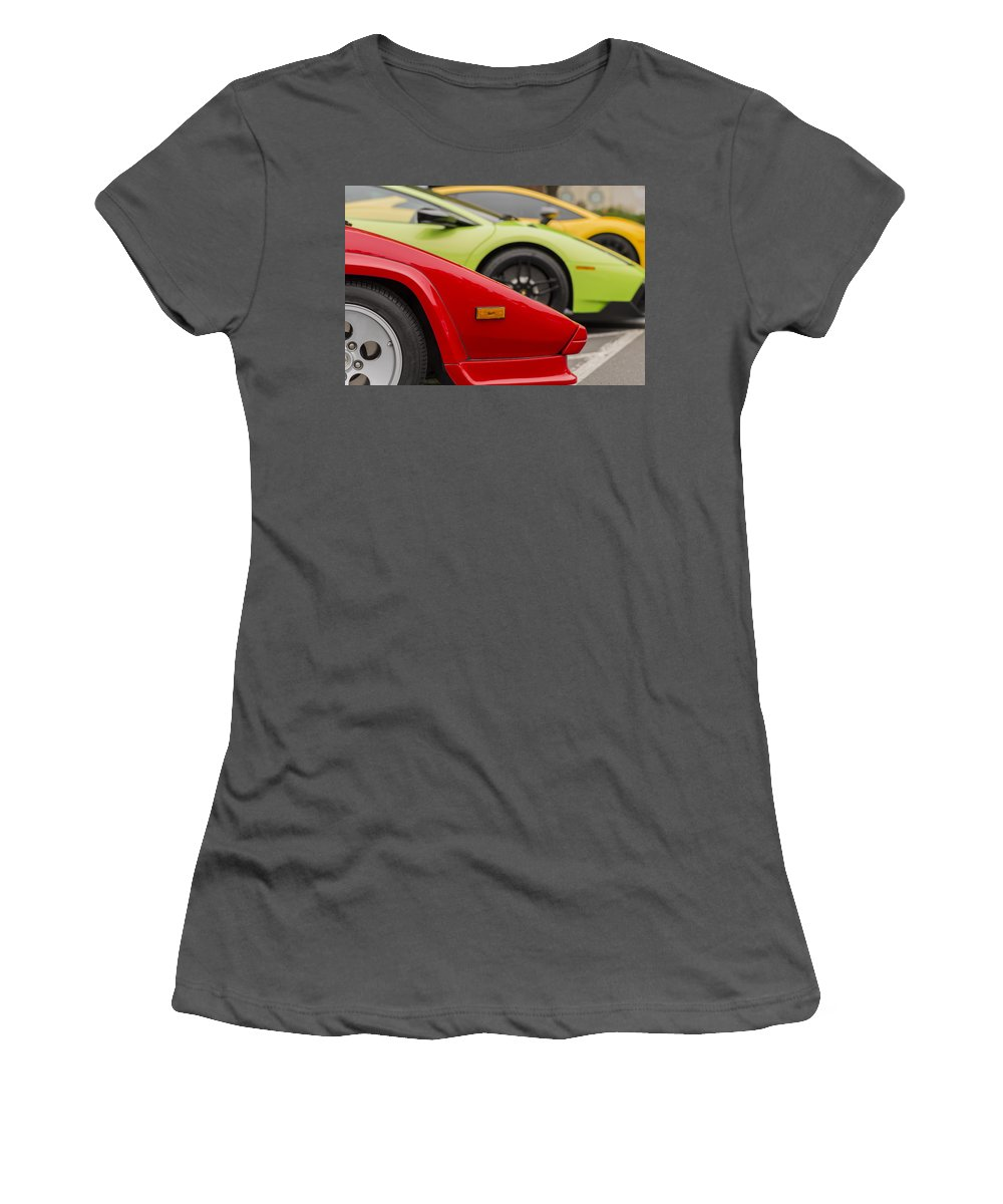 Car Women's T-Shirt (Athletic Fit) featuring the photograph Lamborghini Countach Nose by Scott Campbell
