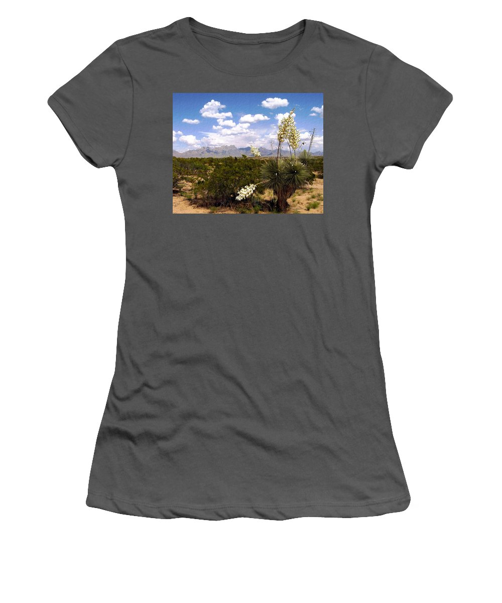 Organ Mountains Women's T-Shirt (Athletic Fit) featuring the photograph Lampadres De Dios by Kurt Van Wagner