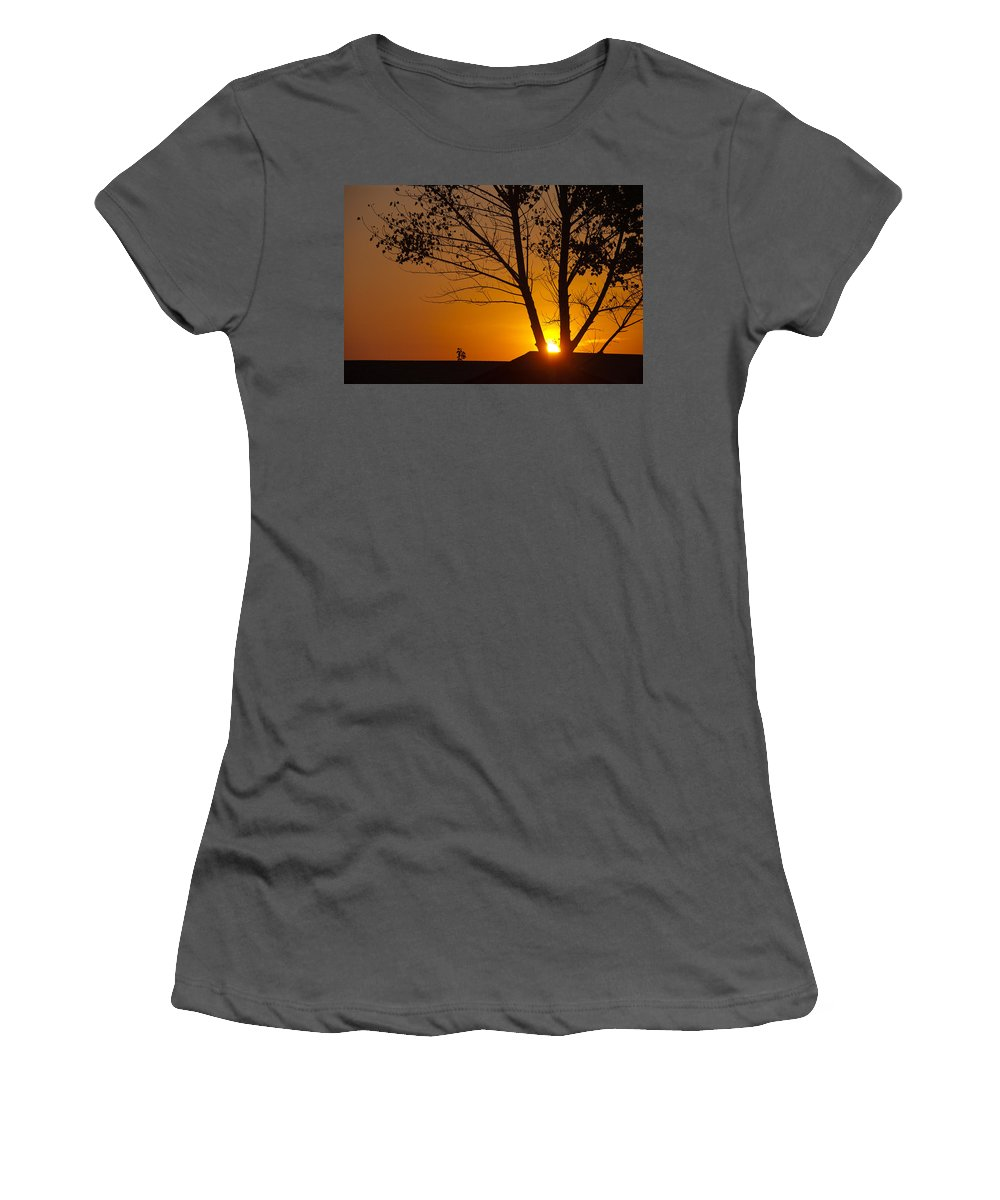 Sunset Women's T-Shirt (Athletic Fit) featuring the photograph Last Rays Of The Day by Randy Giesbrecht