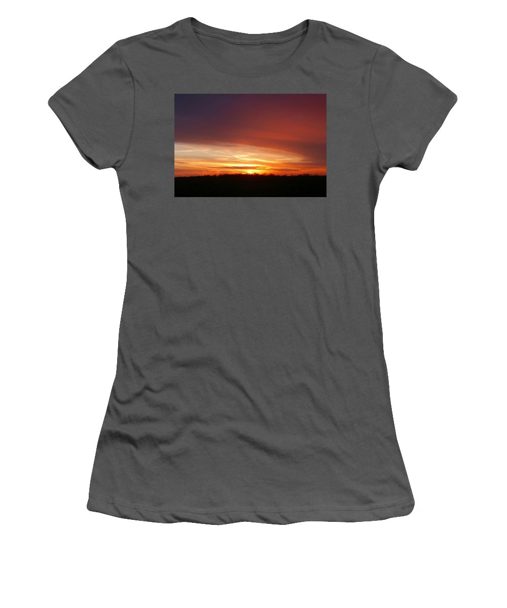 Sunset Women's T-Shirt (Athletic Fit) featuring the photograph Last Sunset Of 2013 by Dan McCafferty