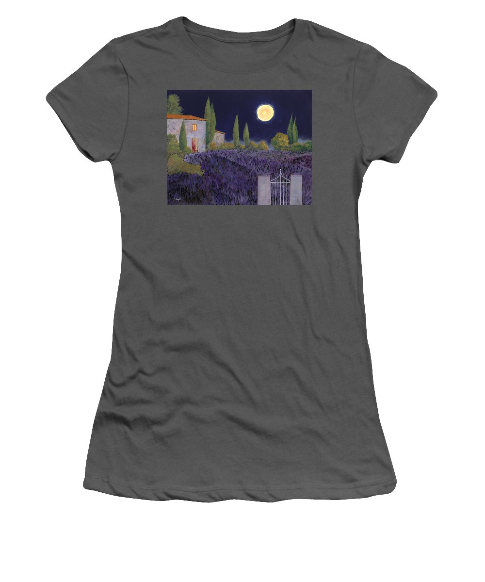 Tuscany Women's T-Shirt (Athletic Fit) featuring the painting Lavanda Di Notte by Guido Borelli