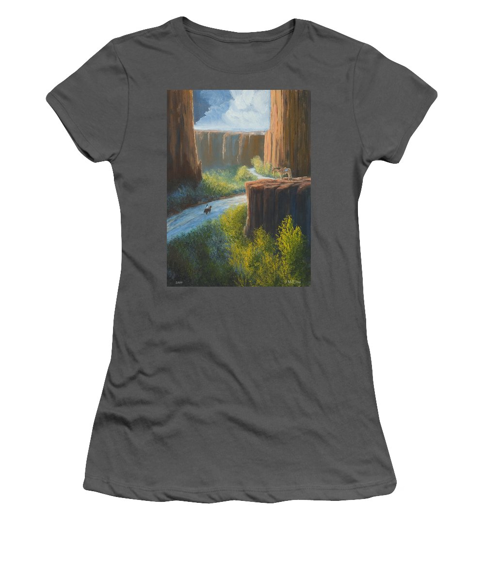 Canyon Women's T-Shirt (Athletic Fit) featuring the painting Left Behind by Jerry McElroy